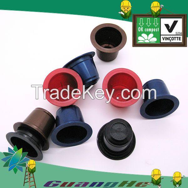 PLA plastic empty coffee capsules Nespresso/Lavazza blue/ Caffitaly compatible