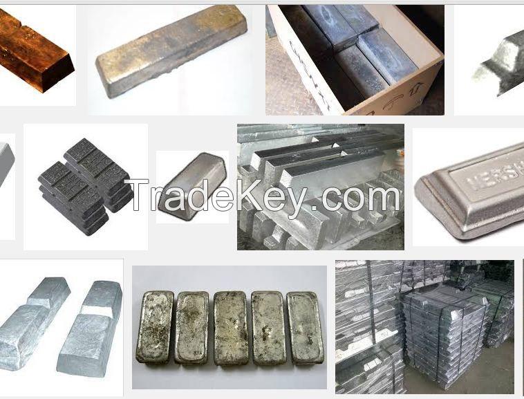 Lead Ingot, Zinc Ingot, Aluminum Ingot, Brass Ingot, copper ingot, steel ingot