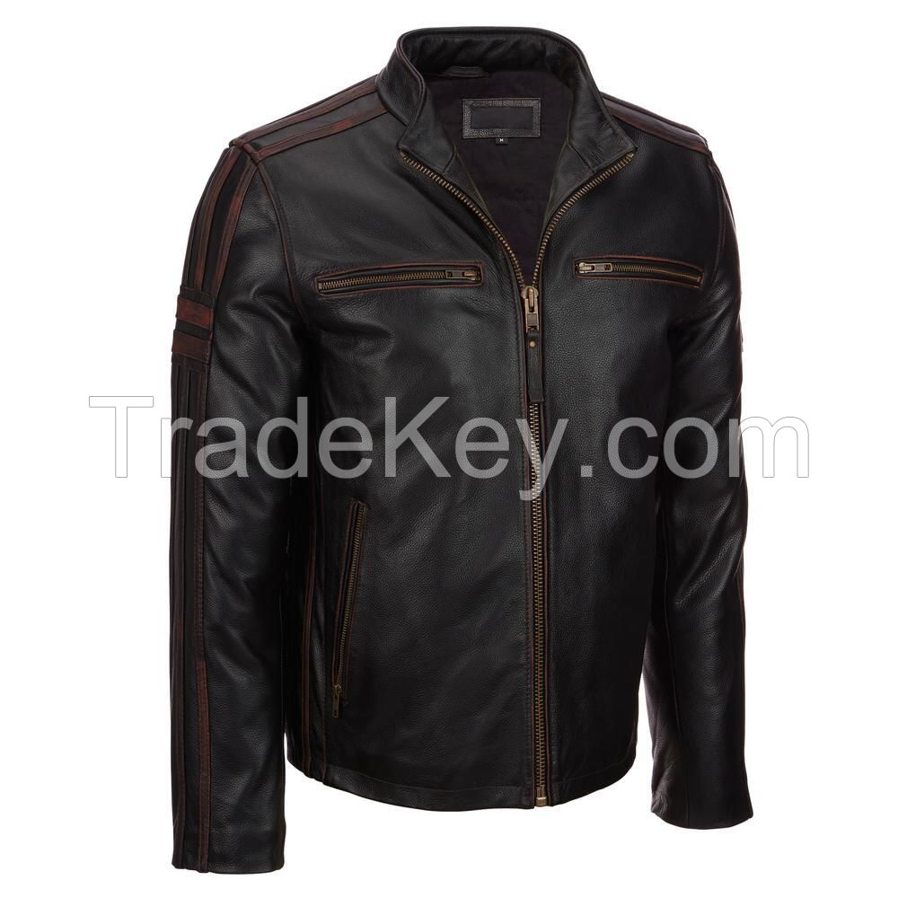 black with red lining Original Leather Motorbike Men Jacket in high quality