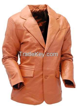 Mango/Orange Two Button Leather Coat