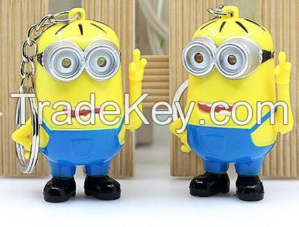 YL-k178 yellow man shape LED keychain with sound