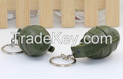 YL-k167 bomb shape LED keychain with sound