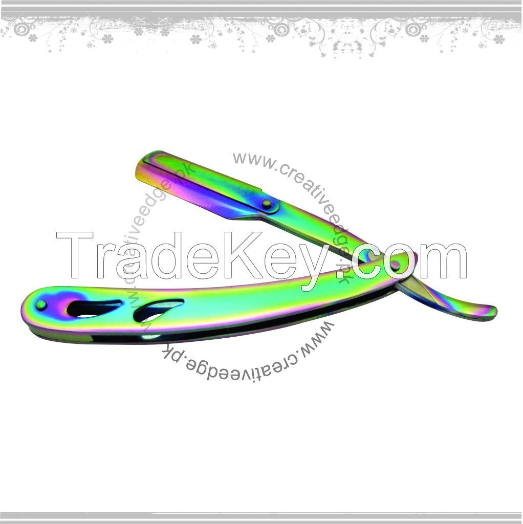 Titanium multi color Stainless Steel Throat Cut Shaving Straight Razor
