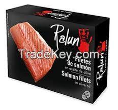 RALUN. SALMON FILET IN OLIVE OIL, CHOPPED SALMON IN BRINE AND SALMON SALAD