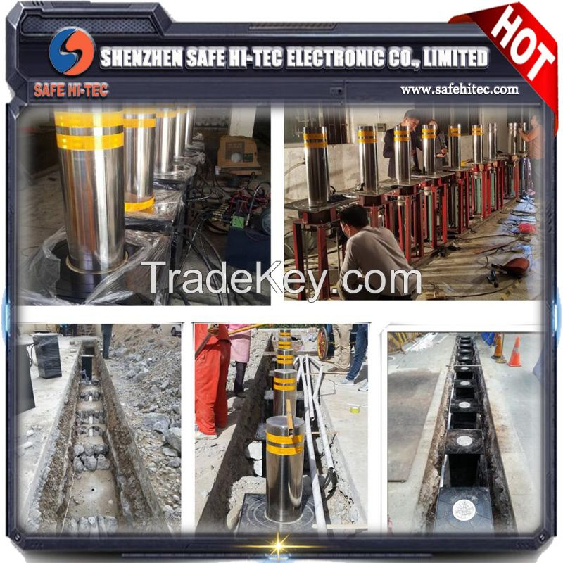 Retractable road block barriers automatic rising bollards