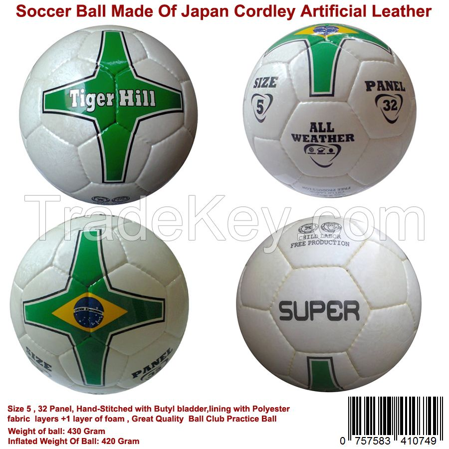Soccer Ball Super Quality Made By Japan Cardly Artificial Leather Size 5 Hand Stitched
