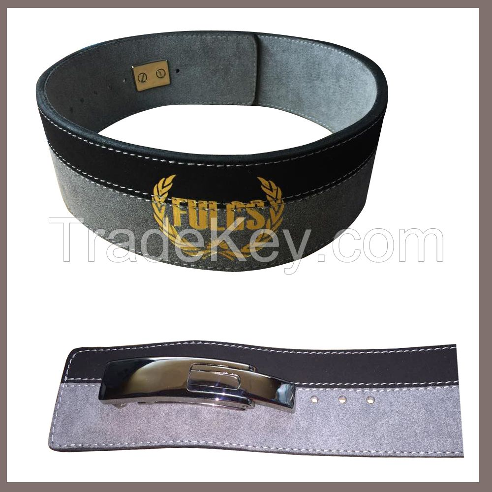 Weight Lifting Belt Lever buckle Made cowhide Leather width 4 inches