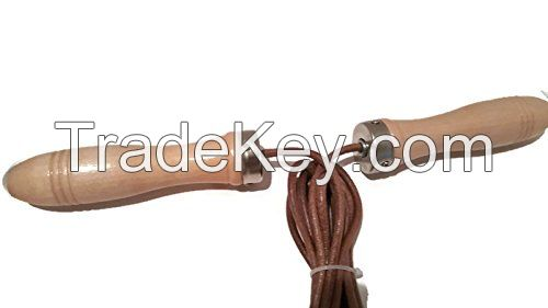 Fitness Traning Skipping Jump Rope made real leather length 9ft with wooden handle