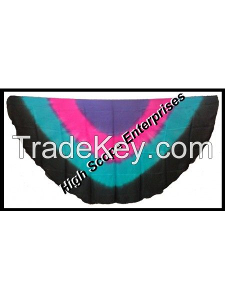 Belly Dance Pure Silk Paj Veil Half Circle 42x87 inches Dyed by Hand