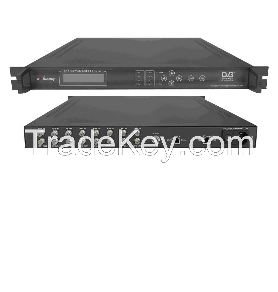 DVB-S x 8-SPTS IP Gateway(8 x DVB-S in, 64 UDP/multicast/Gigabit out)