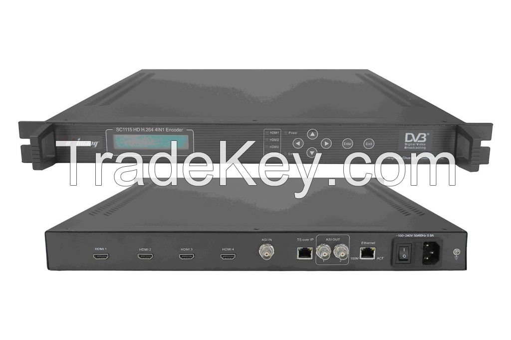 HD H.264 4-HDMI Encoder(4 HDMI in and ASI+IP(UDP)/MPTS out)
