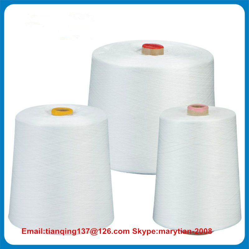 Spun polyester yarn 20s/2/3 30s/2/3 40s/2/3 50s/2/3 raw/optical/bleach white
