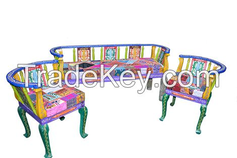 wooden painted sofa  set of 3