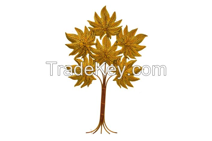 Iron golden leaf tree wall decor with led light