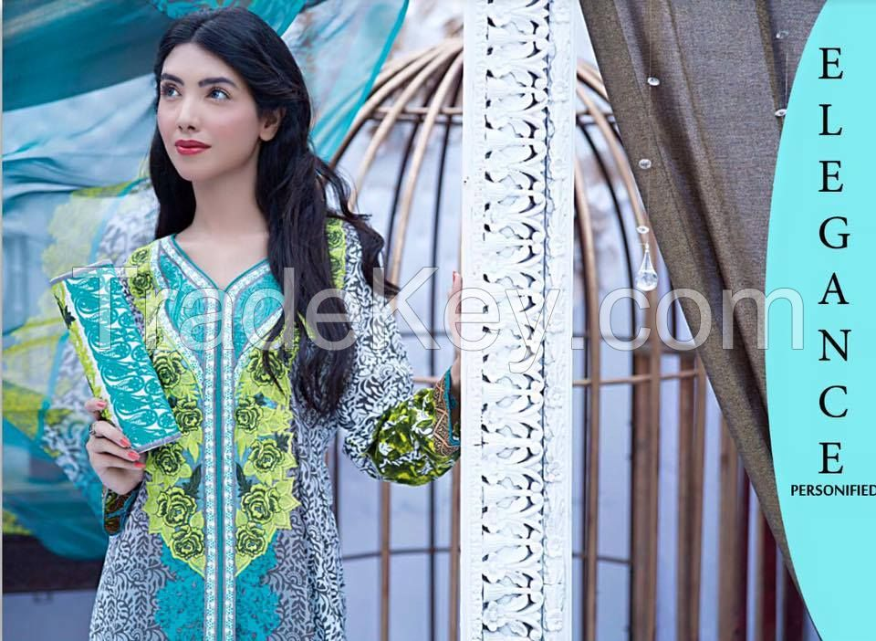 pakistani ladies, cotton, lawn , linen embroidered suits