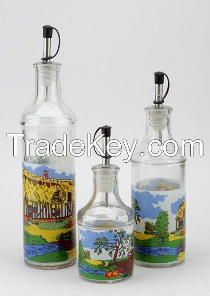 glass vinegar bottles, glass oil bottles with decal logo