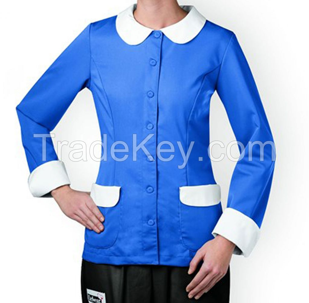 Ladies Blue Chef Coat Smart Fit Butterfly Collars