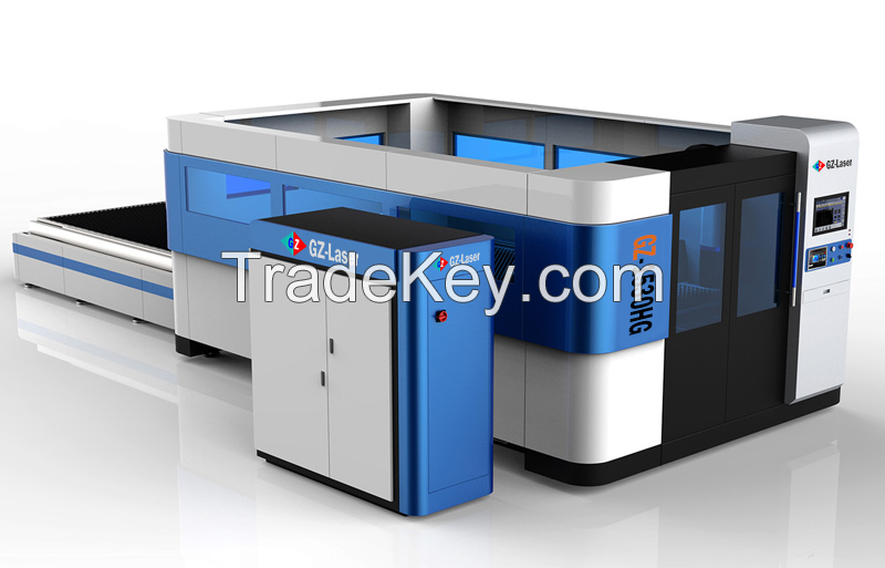 GZ1530HG Fiber Laser Cutting Machine with housing and exchange table