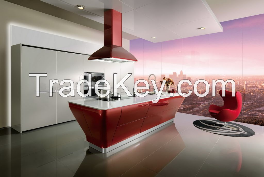 OPPEIN Red Lacquer Kitchen Cabinet - The largest cabinetry manufacturer in Asia