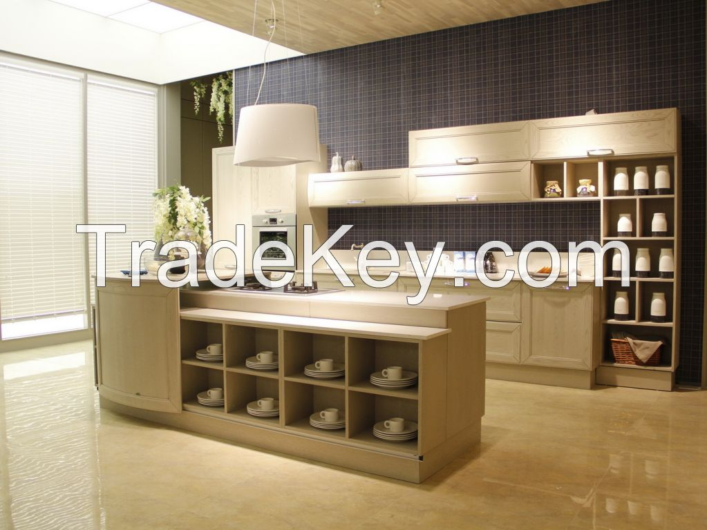 OPPEIN Solid Wood Italy Kitchen Cabinet Luxury Series Cabinets Canton Manufacture