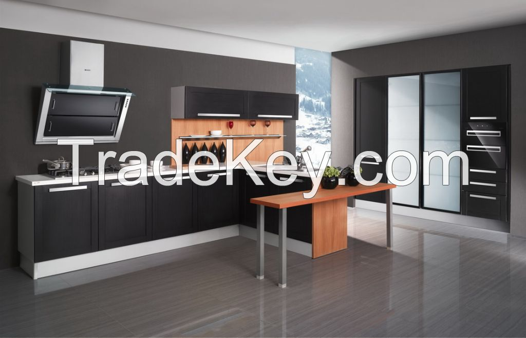 OPPEIN PVC Kitchen Cabinet Wooden Cabinets Guangzhou Export