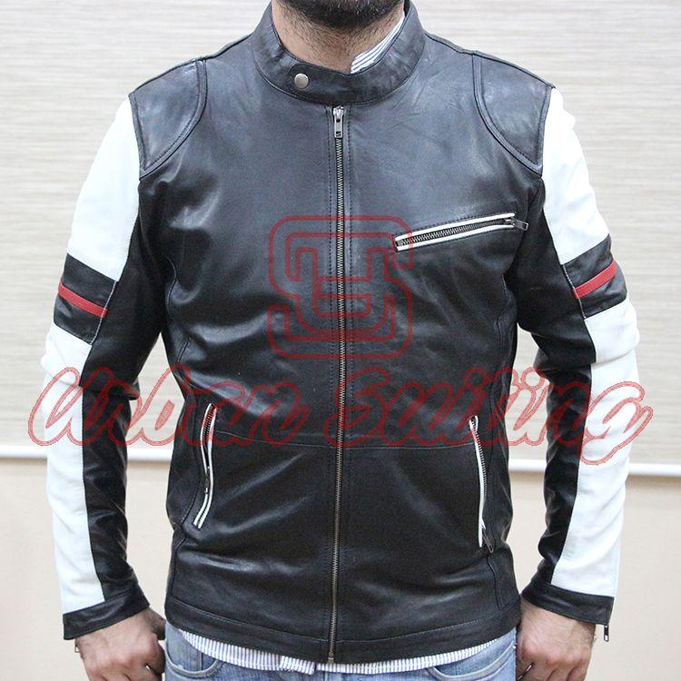 Men Striped Leather Fashion Jacket USI-8897