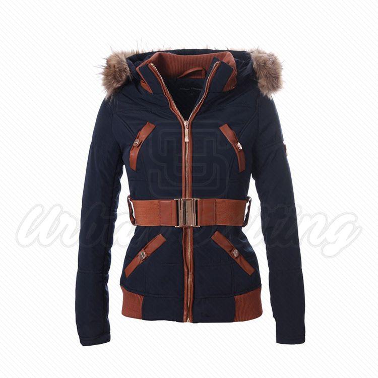 Stylo Winter Belt Jacket Navy Fur Hoodie USI-9628