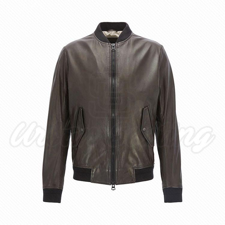 Men Slim Fit Bomber Leather Jacket USI-8888