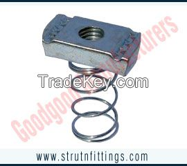 spring channel nuts, channel bracketry, pipe clamps, unistrut channels, cantilever arms, manufacturers exporters in  india, usa, uk, America, UAE Dubai, australia, italy, canada