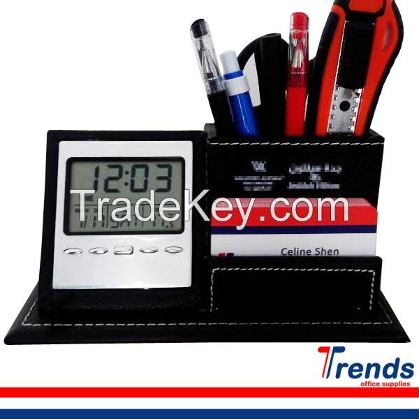 new products 2015 innovative deluxe desktop leather pen holder with clock