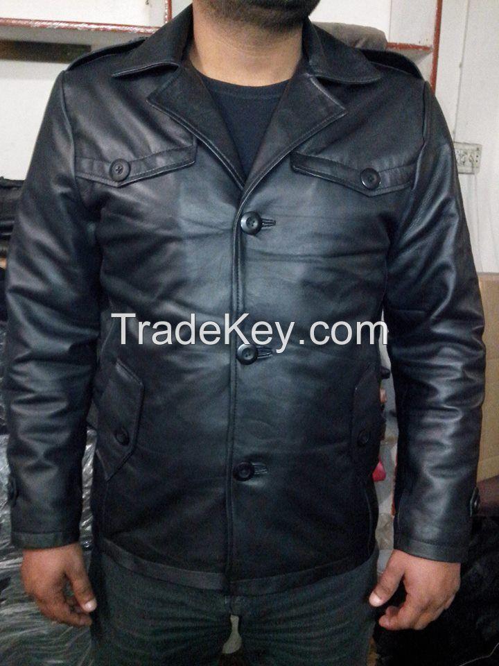Cheap High quality brown sheep men women leather jacket