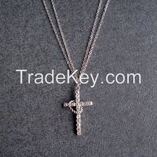 Rhinestone Cross charm metal chains necklace jewelry
