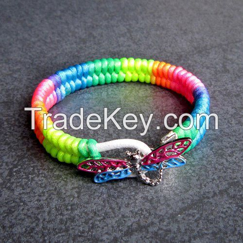 Colorful rope woven dragonfly charms bracelet for friends