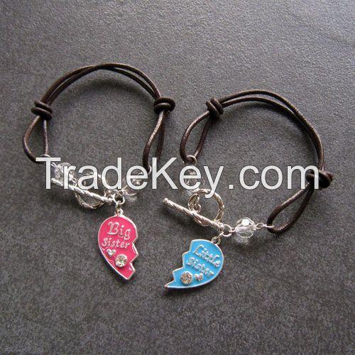 Leather rope DIY made Letter printed friendship bracelets