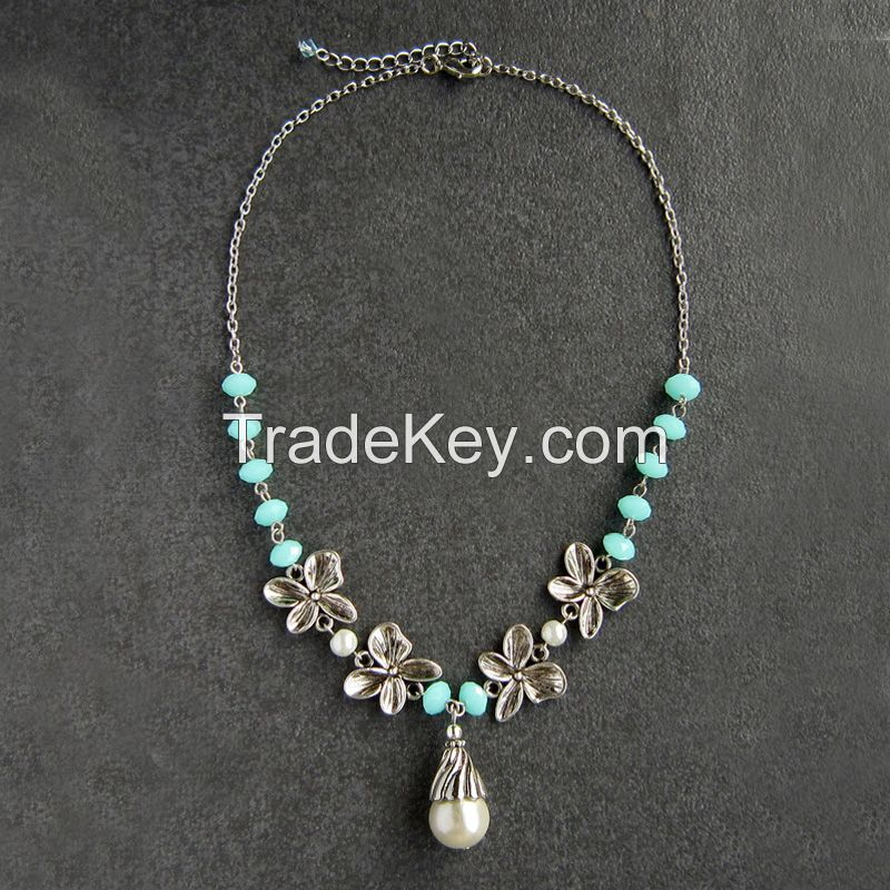 Glass beads and metal chains DIY fashion necklace for girls