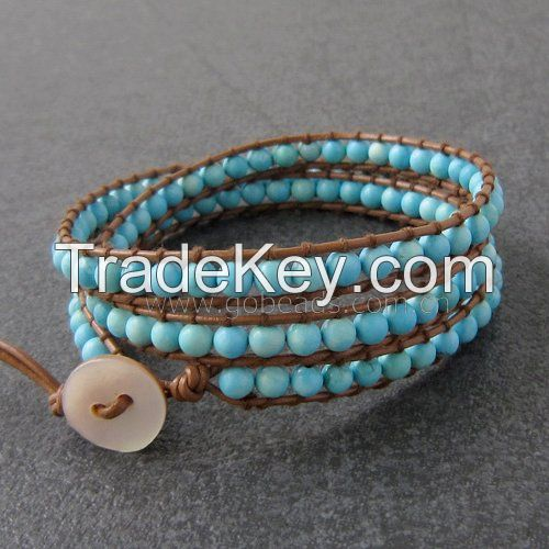 Leather rope knitted Gemstone beads bracelet for gifts