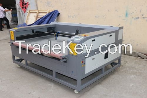 Automatic fabric/leather laser cutting machine with double heads