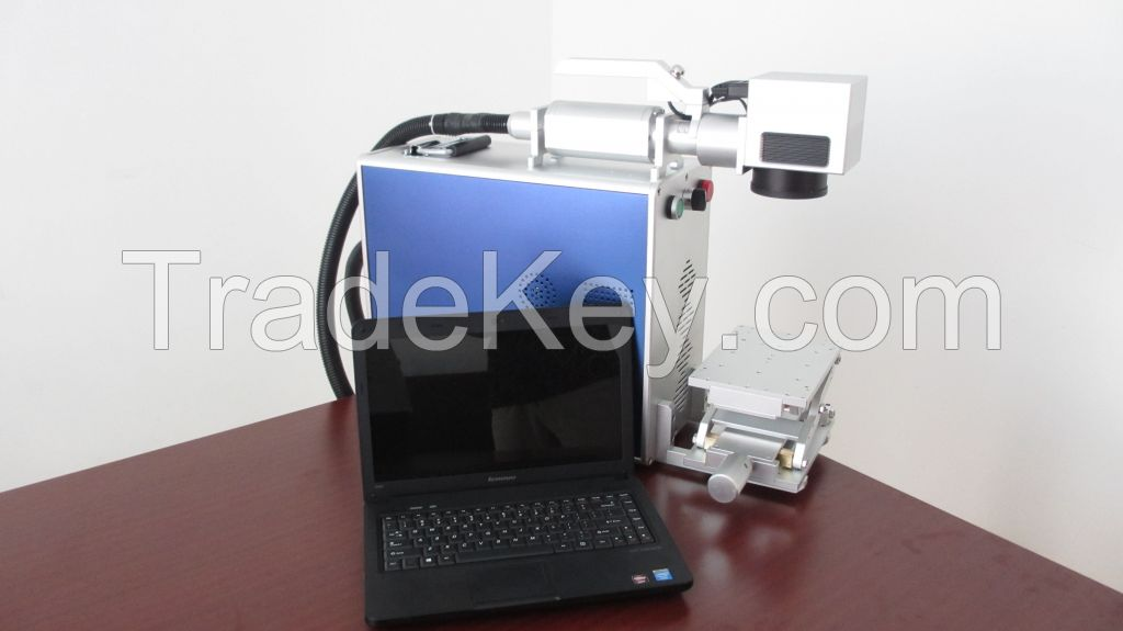 Handheld movable head fiber laser metal marking machine for ear tags, dog tags, pigeon rings, steel