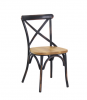 Vintage industrial cross back metal dining chair with wooden seat