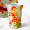 12oz Flute coffee mug with beautiful flower printed