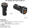 Car charger with Type-C & QC3.0