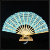Embroidery Bamboo Based Craft Lace Fan For Western Style Court Wedding