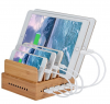 Wood Bamboo 5 Ports Dock Station for IOS Android Smart Phone and Tablet