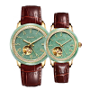 Fashion Gift Water resistant Jade Wristband with Genuine Leather Strap