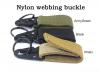 Detachable nylon webbing keyring black army green  nylon webbing