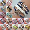 hand-knitted fashion leather bracelet