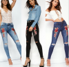 Best selling sexy embroider ripped jeans