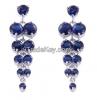 Classic zircon earrings style, dark blue as the sea