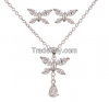 Butterfly Platinum-plated Zircon Jewelry Sets