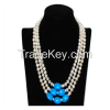 """17-19"""" 7-8mm White Pearls & Blue Elliptical Turquoise Necklace"""